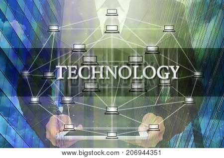 Technology Text and Distributed computer network with Businessman holding the tablet over the Modern business building glass of skyscrapers Distributed ledger technology and block chain concept,