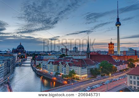 The center of Berlin with the famous Television Tower at dusk