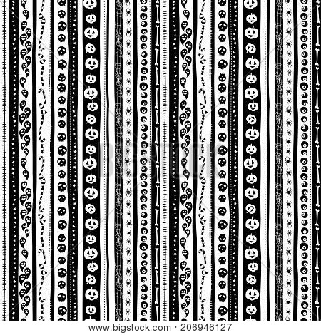Funny Scary Black White Seamless Background Abstract Pattern For Halloweeen