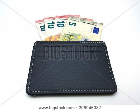 Euro Bank Notes In Leather Wallet