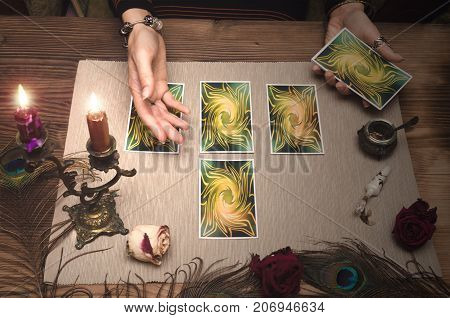 Tarot cards. Fortune teller desk table. Paranormal table.