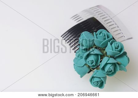 Hair Care. Accessories And Decorations. Two Scallops For Hair Are Transparent And Black In Color. Ar