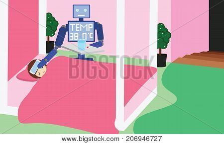 Domestic robot measuring fever and giving pills to girl child. Personal robot nurse futuristic concept illustration vector.