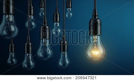 Unique, leadership, new idea concept - One light bulb lamp glowing different and standing out from other light bulbs lamps. 3d rendering