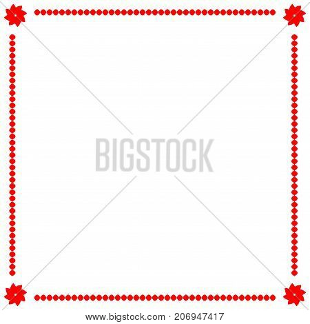 Frame red. Border from ovals and flowers. Decoration banner rim. Colorful framework isolated on white background. Decoration concept. Modern art scoreboard. Stock vector illustration