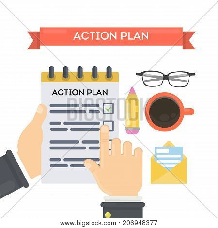Action plan concept illustration. Businessman with notebook, coffee and glasses. Time management.