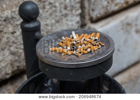 Ashtray full of cigarette waste in an alley.