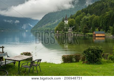 Grundlsee In The Morning With Many Clouds