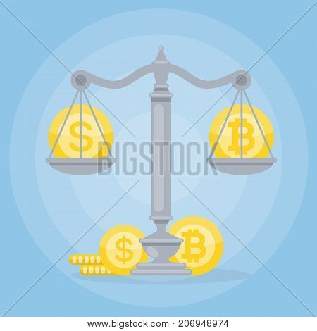 Dollar vs Bitcoin. Cryptocurrency balance illustration. Coins on scales.