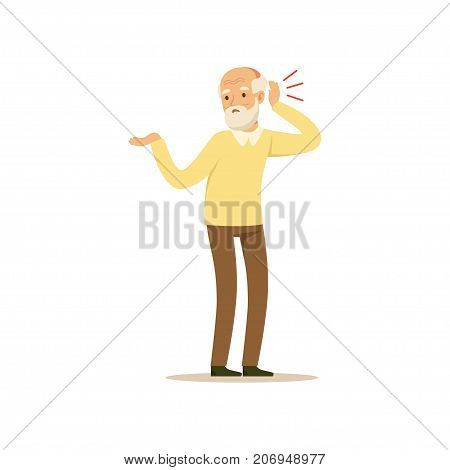 The image is showing an aged person turning towards the noise, as his hearing is bad and he can t understand what s going on. He has a white beard and is wearing a yellow sweater and brown trousers.