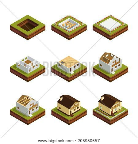 Isometric concept of building a house. Set of 3d icons construction of the house Isolated on white background. House construction phases. Vector illustration.