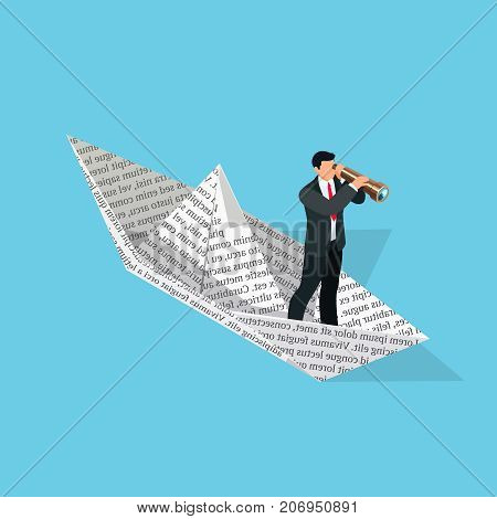 Investor. Isometric business concept. 3d businessman with a telescope sailing in a paper boat. Vector illustration.