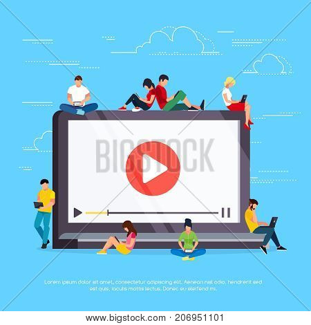 Vlog concept. Young people with pc tablets are sitting on a laptop. People in a flat style are videoblogs. Vector illustration.