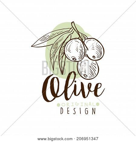 Vector Image of olives on a branch with original design written underneath.