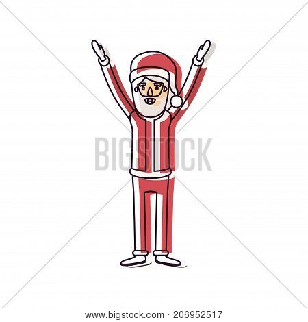 santa claus caricature full body with hands up hat and costume watercolor silhouette on white background vector illustration