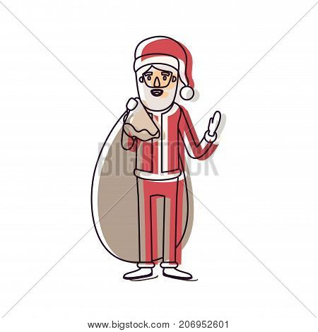 santa claus caricature full body with gift bag hat and costume watercolor silhouette on white background vector illustration
