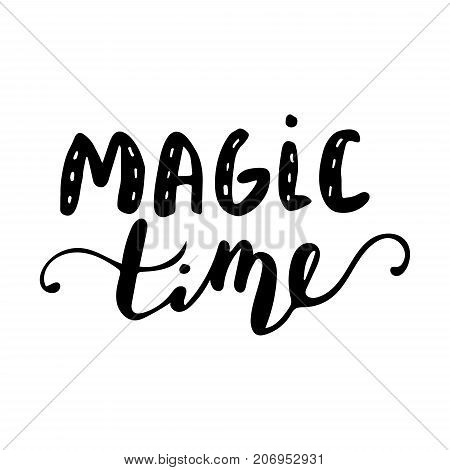 Magic time hand lettering with bouncing letters signature black vector illustration.