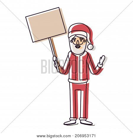 santa claus caricature full body holding a poster with pole with hat and costume watercolor silhouette on white background vector illustration