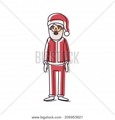 santa claus caricature full body with hat and costume watercolor silhouette on white background vector illustration