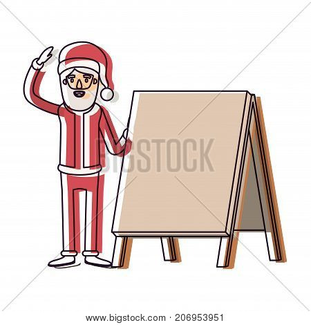 santa claus caricature full body with a placard and hat with christmas costume watercolor silhouette on white background vector illustration