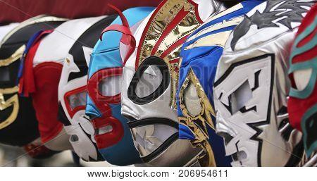 A Colorful Assortment of Lucha Libre Luchador Masks