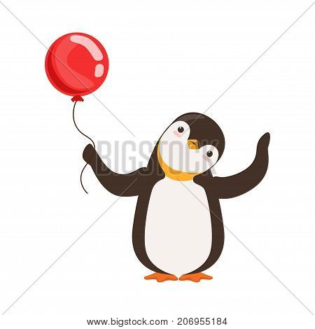 The image is showing a penguin with a red baloon on a white background