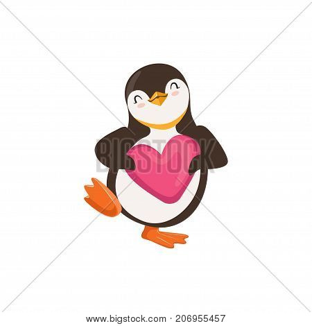 The image shows a happy penguin who is holding a pink heart and is dancing. It closed its eyes.