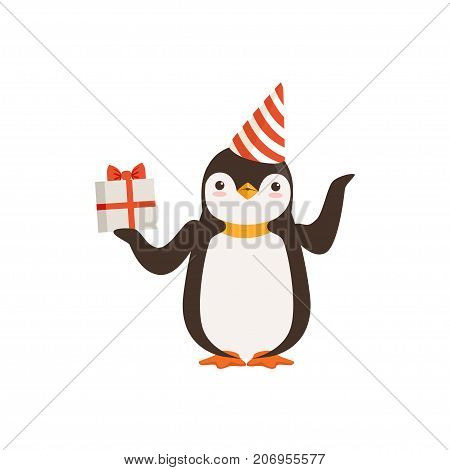 The image shows a penguin, who is wearing a white and red party hat and is holding a present box tied with red ribbon. The image background is white.