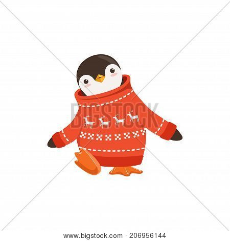 The image shows a penguin in a red sweater. The sweater has a white snowflake and deer pattern running across it. The image has a white background.