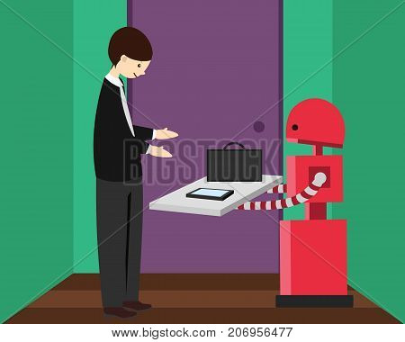 Domestic robot brings briefcase and phone to his young owner leaving for work. Personal robot maid futuristic concept illustration vector.