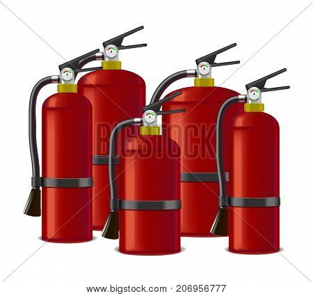 Realistic Detailed Red Extinguisher or Quencher Set Isolated on a White Background Symbol of Fire Protection. Vector illustration