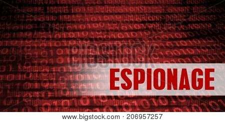 Espionage Security Warning on Red Binary Technology Background