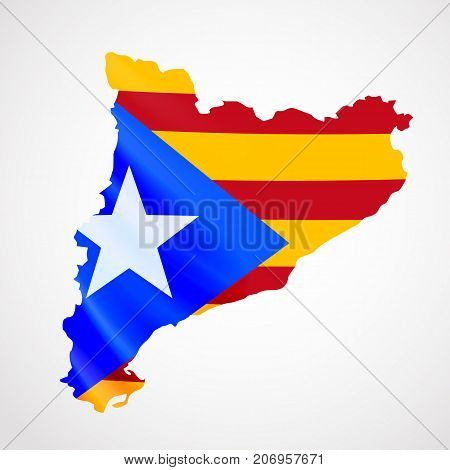 Hanging Catalonia flag in form of map. Catalonia referendum. National flag concept. Vector illustration.
