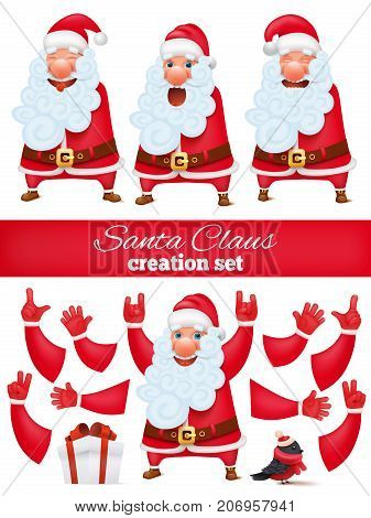 Santa Claus cartoon character creation DIY set. Collection of various emotions and gestures. Vector illustration