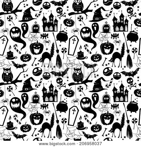 Black And White Seamless Background Abstract Pattern For Hallowe
