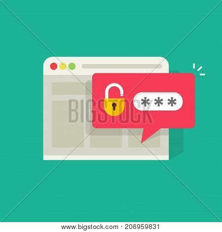 Password notification bubble with open lock in browser widow vector illustration, flat carton style login or signin icon