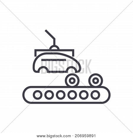 assembly car, conveyor vector line icon, sign, illustration on white background, editable strokes