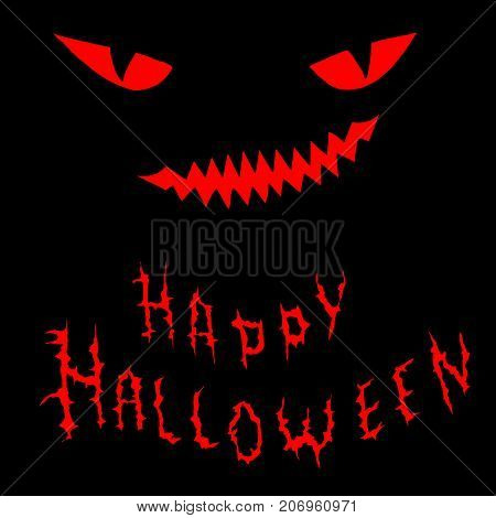 Hand drawing funny, cartoon face with a spiteful look and toothy smile, decorative background for halloween, red color, isolated on black background, text happy halloween. Vector illustration monster.