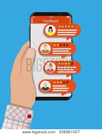 Hand holds smartphone with rating app. Bubble speeches and avatars. Reviews five stars rating with good and bad rate and text. Testimonials, rating, feedback, review. Vector illustrayion in flat style