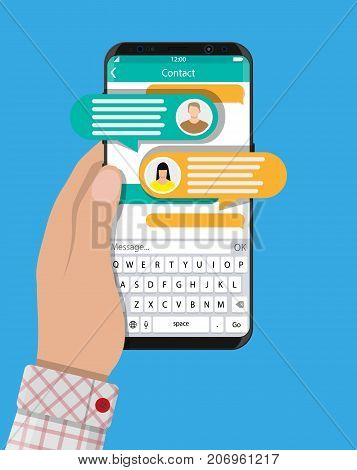 Hand hold smartphone with messaging sms app. Chat bubbles on mobile phone touchscreen. Chat between man and woman. Social netwroking. Discussion, talking, assistance. Vector illustration in flat style