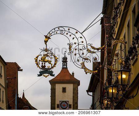 Symbol on the street in rothenburg ob der tauber germany
