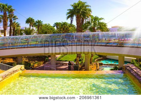 Sharm El Sheikh, Egypt - September 26, 2017: The pool lazy river at Hotel Monter Carlo Sharm Resort and SPA at Sharm El Sheikh, Egypt on September 26, 2017