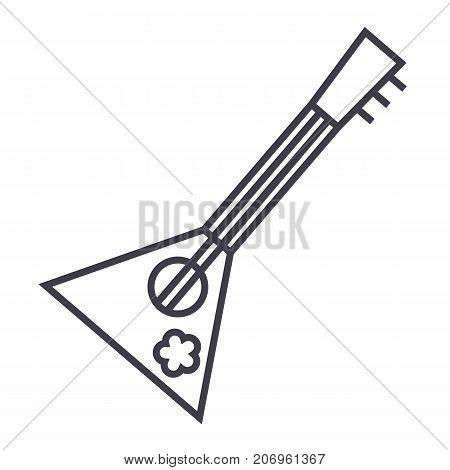 balalaika vector line icon, sign, illustration on white background, editable strokes