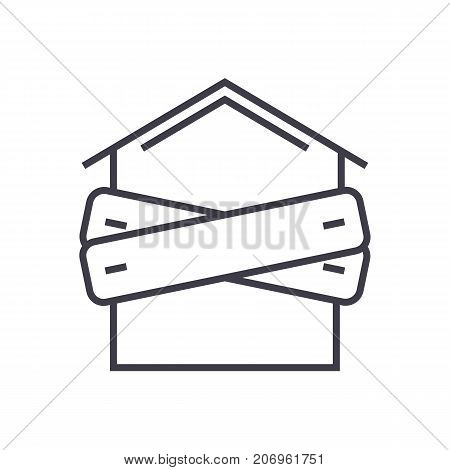 bankruptcy, boarded-up house vector line icon, sign, illustration on white background, editable strokes