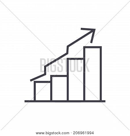 bars ascendant graph vector line icon, sign, illustration on white background, editable strokes