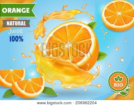 Orange juice ad. Realistic fruits in juicy splash package design.