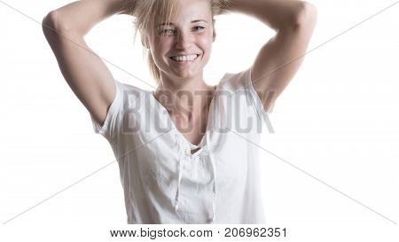 Beautiful girl with a smile on an isolated white background