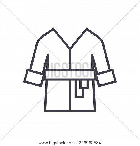 bathrobe, spa, home vector line icon, sign, illustration on white background, editable strokes