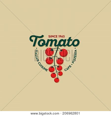 Tomato logo. Italian cuisine restaurant logo. Pizzeria or cafe emblem. Letters and cherry tomatoes. Identity.