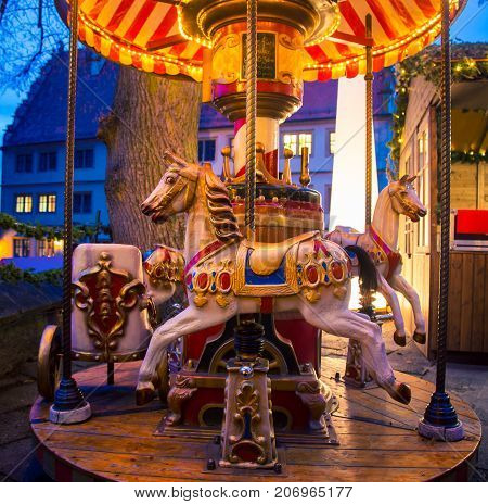 Carousel at a Christmas market In rothenburg ob der tauber,